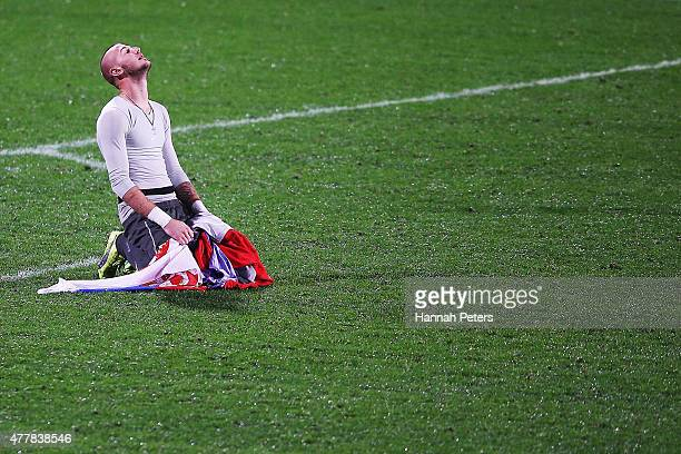 Vanja Milinkovic of Serbia celebrates after winning the FIFA U20 World Cup Final match between Brazil and Serbia at North Harbour Stadium on June 20...