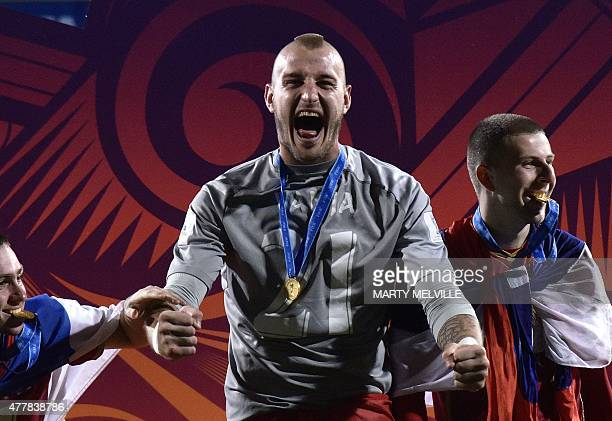 Vanja Milinkovic of Serbia celebrates following the FIFA Under20 World Cup football final match between Brazil and Serbia at North Harbour Stadium in...