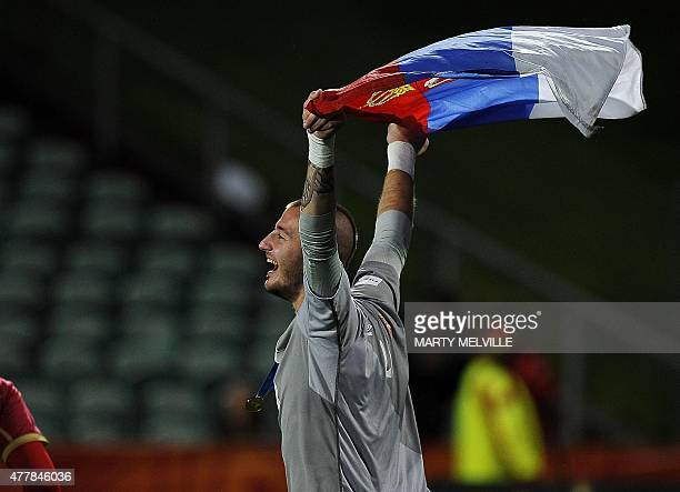Vanja Milinkovic of Serbia celebrates his team's win during the FIFA Under20 World Cup football final match between Brazil and Serbia at North...