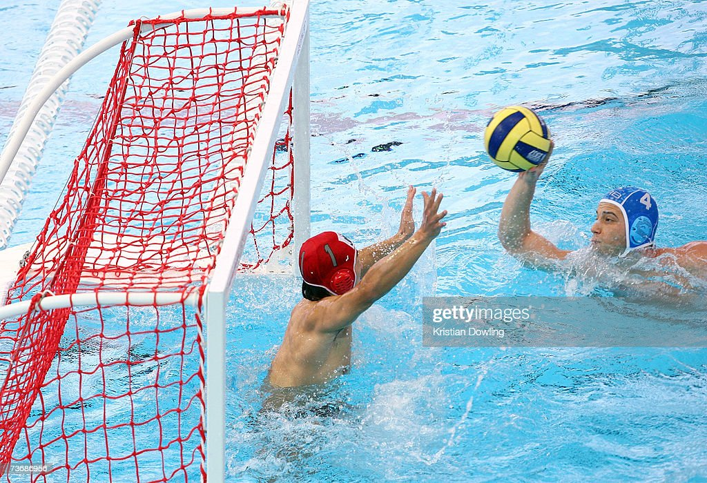 Vanja Udovicic of Serbia makes an attempt on goal during the Men's Preliminary Water Polo match between Japan and Serbia at the Melbourne Sports...