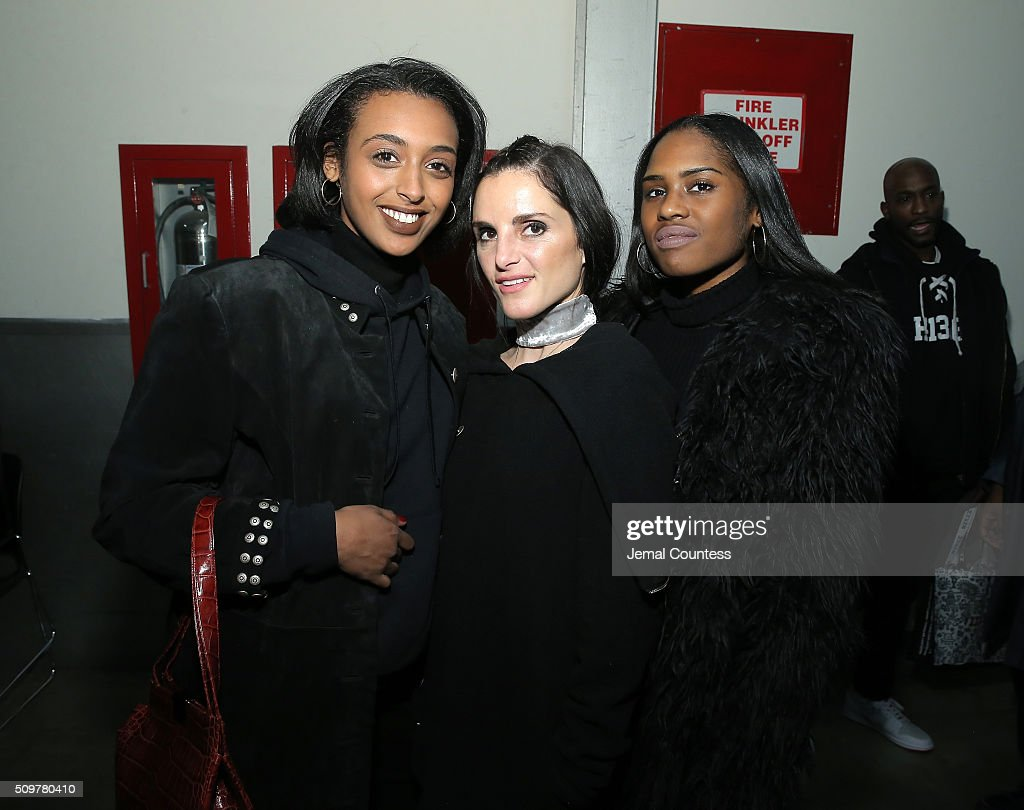 Vanna Gebremichael, Designer Christina Minasian and Shelby Macklin attend the iiJin Fall 2016 fashion show during New York Fashion Week at Pier 59 on February 12, 2016 in New York City.