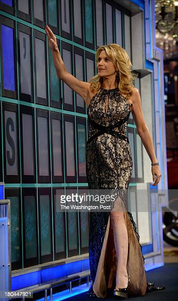 Vanna White who has been turning letters on the Wheel of Fortune for 30 years in action on July 2013 in Las Vegas NV