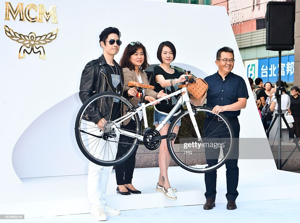 VanNess Wu and Xidi Xu attend a bicycle promotion activity on 15th October, 2015 in Taipei, Taiwan, China.