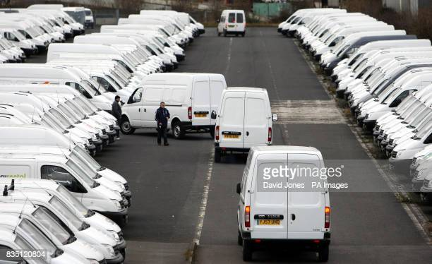 LDV Vans are returned to storage at the manufacturers's plant at Washwood Heath Birmingham