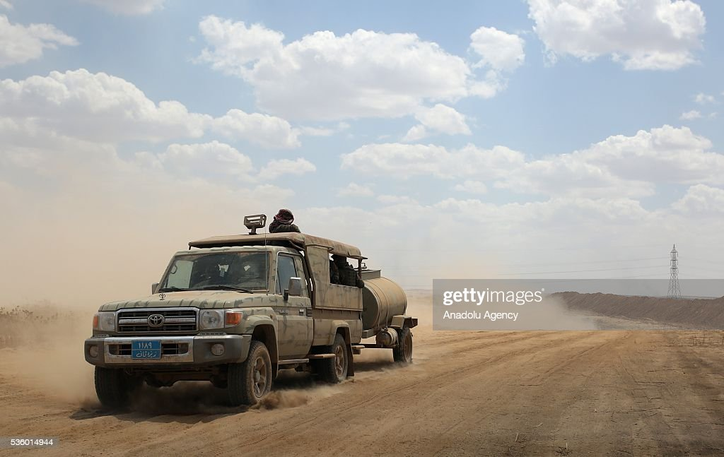Vans transport oil and soldiers to liberated locations after Peshmerga forces recaptured nine villages from Daesh at Hazir region of Mosul in Nineveh, Iraq on May 30, 2016.