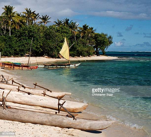 Vanuatu - Canoes at Inyeug (Mystery) Island