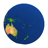 Country of Vanuatu highlighted on globe. 3D illustration with detailed planet surface isolated on white background. 3D model of planet created and rendered in Cheetah3D software, 7 Mar 2017. Some laye