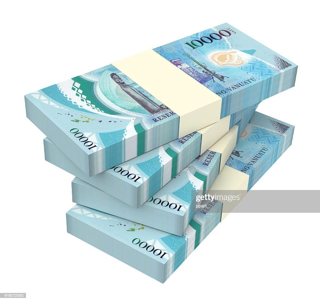 Vanuatu vatu bills isolated on white background. : Stock Photo