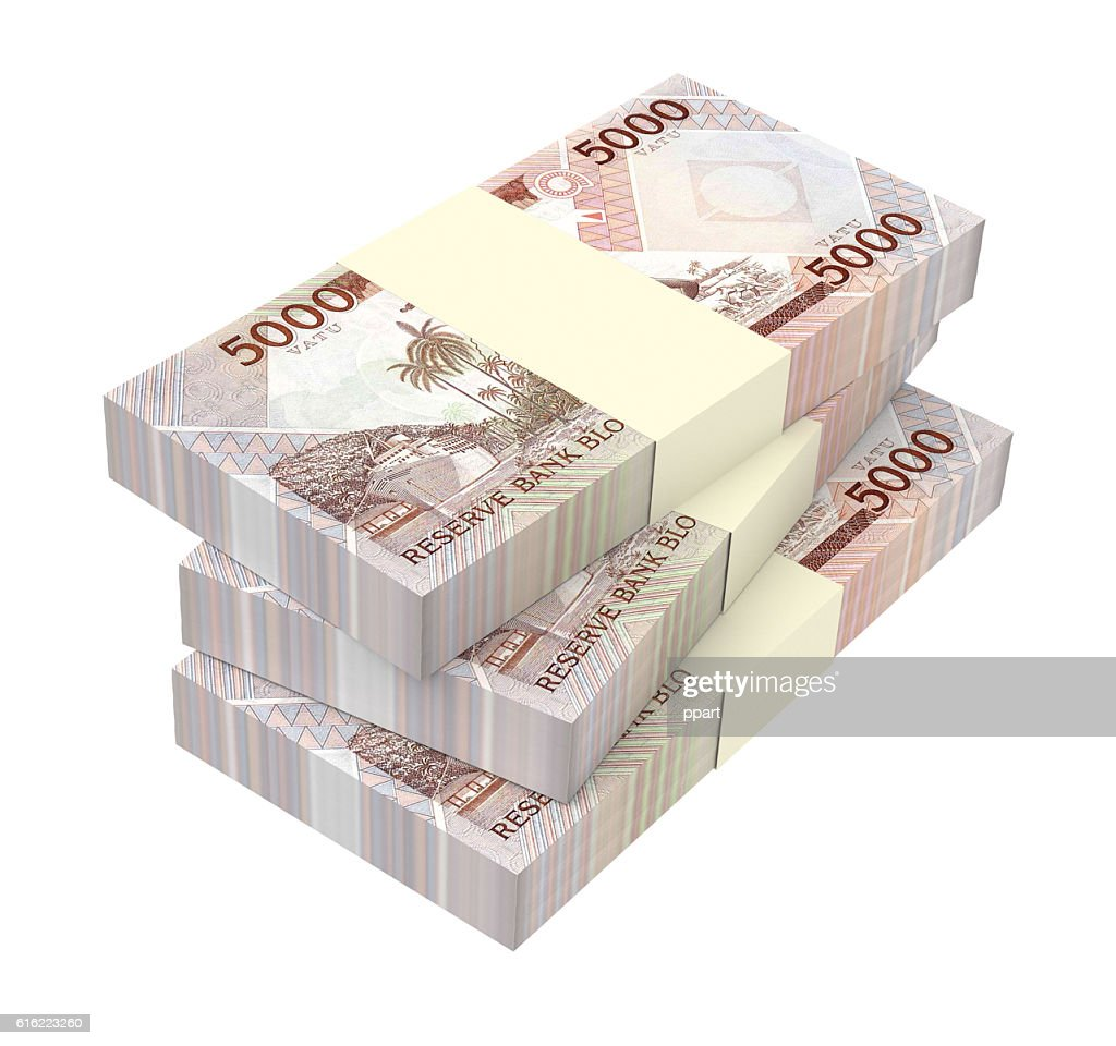 Vanuatu vatu bills isolated on white background. : Stock-Foto