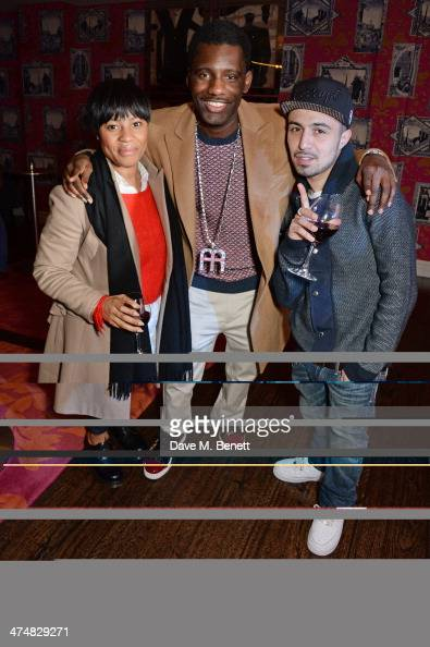 Vanya Taylor Wretch 32 and Adam Deacon attend a special screening of 'Ride Along' at The Soho Hotel on February 25 2014 in London England