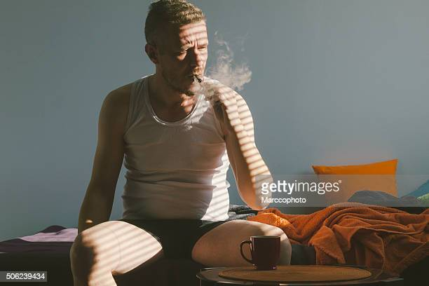 Vaping ecigarette in the morning