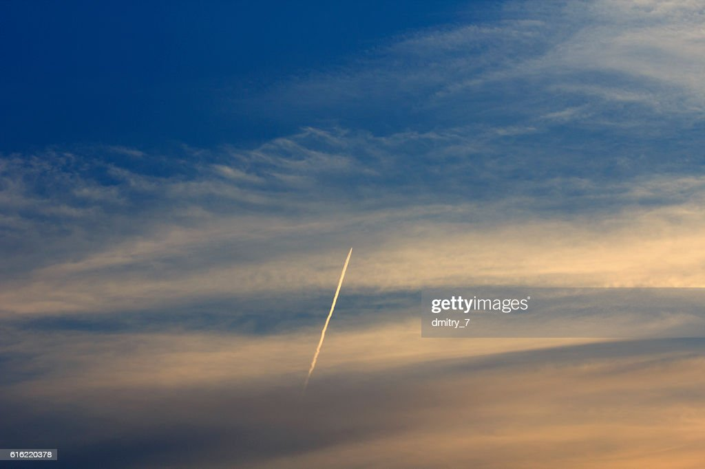 Vapor trail in the sky : Stock Photo