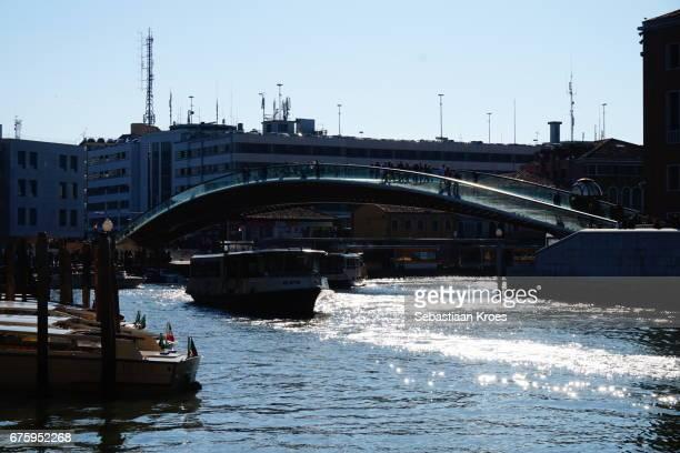Vaporettos and Constitution Bridge by Calatrava, Venice, Italy