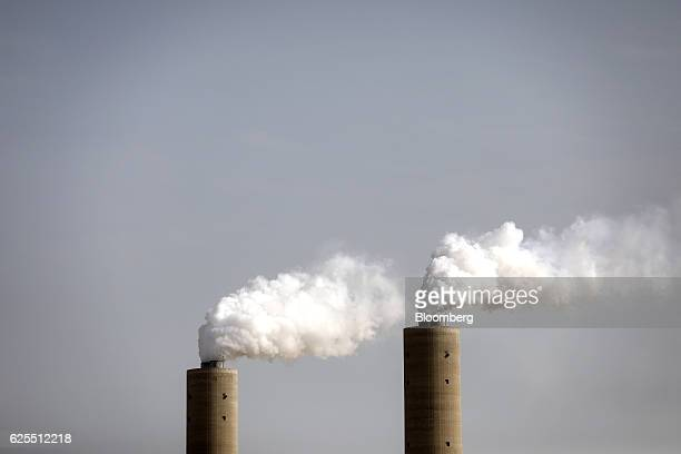 Vapour rises into the sky from smoke stacks at the aluminium processing plant at the Ras Al Khair Industrial City operated by the Saudi Arabian...