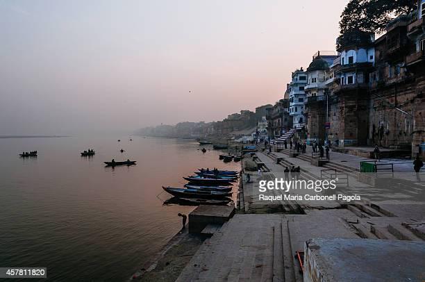 Varanasi ghats at dusk