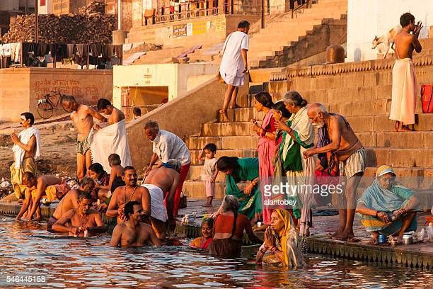 Varanasi, India: People Performing Morning Ablutions on the Ganges