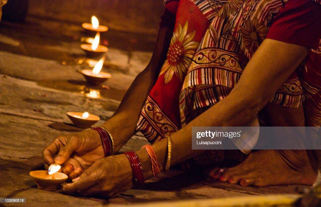 Varanasi, night puja : Stock Photo