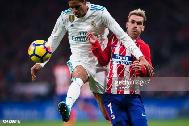 Varane Antonie Griezmann during the match between Atletico de Madrid and Real Madrid week 12 of La Liga at Wanda Metropolitano stadium Madrid SPAIN...
