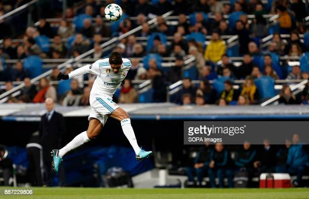Varane of Real Madrid before he was injured during the UEFA Champions League group H match between Real Madrid and Borussia Dortmund at Santiago...