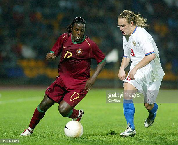 Varela and Andrey Eshchenko during the Under 21 Championship Playoffs between Portugal and Russia in Porto Portugal on October 10 2006