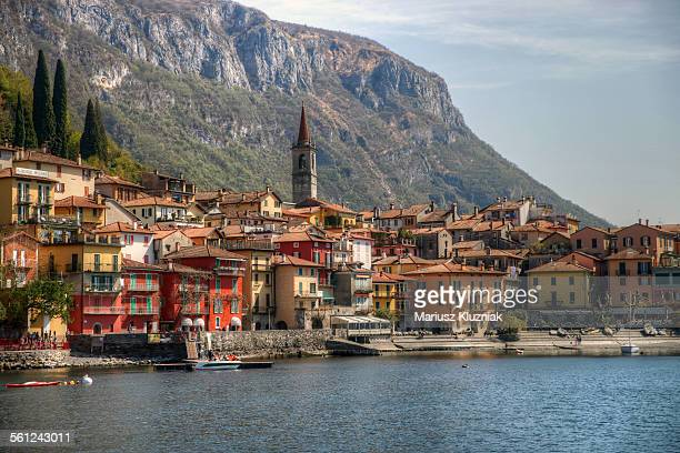 Varenna old town on lake Como and hight mountain
