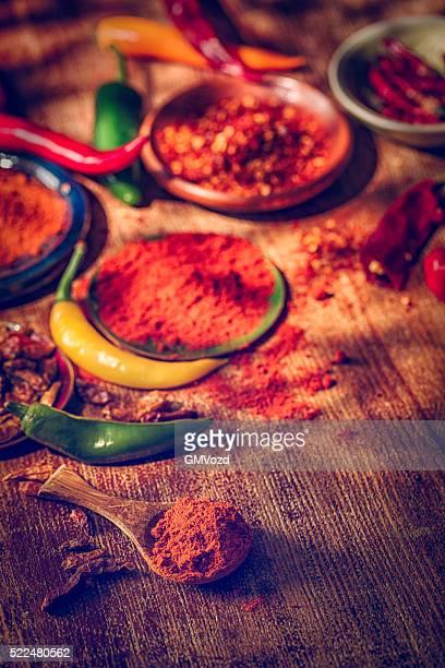 Variação de frescas e secas Pimentão doces ou pimentões