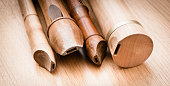 Close up of wooden recorders. Concept of playing the flute, music  and traditional instruments.