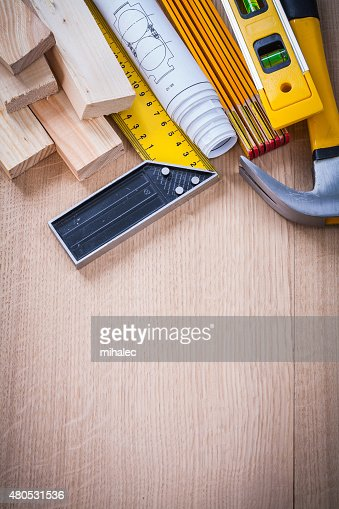 Variation of working building tools on wooden board vertical ver : Stockfoto