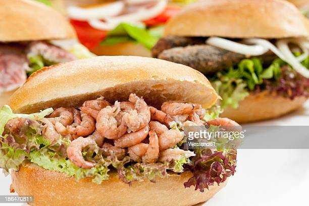 Varieties of bread rolls with fish on white background, close up