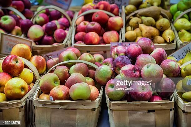 Varieties of fresh organic apples at a farmers market