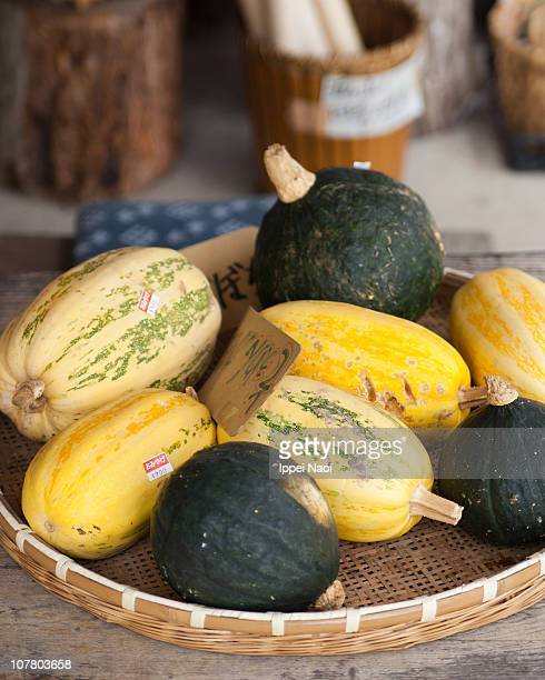 Varieties of Japanese pumpkins at farmer's market