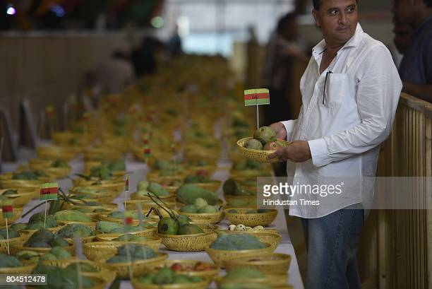 Varieties of mangoes are displayed at the 29th Mango Festival at Dilli Haat at Janak Puri on June 30 2017 in New Delhi India Delhi Tourism department...