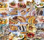 collage of a variety catering food on a table, food decoration, party concept, delicatessen