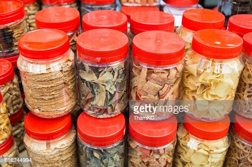 Variety Chinese New Year cookies in jars : Foto stock