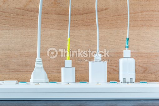 Variety electricity cables from charging station, energy supply concept. : Stock Photo