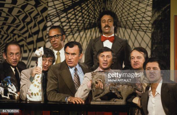 Variety group singers Les Compagnons de la Chanson on television set circa 1970 in France