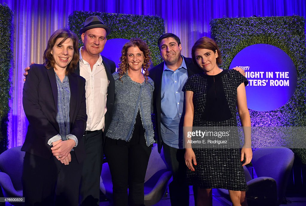 Variety Managing Editor TV Cynthia Littleton, writer Mike O'Malley of 'Survivors Remorse', writer Jennie Snyder Urman of 'Jane the Virgin', writer Adam F. Goldberg of 'The Goldbergs' and writer Jill Soloway of 'Transparent' speaks Variety's A Night In The Writers' Room at the Four Seasons on June 9, 2015 in Los Angeles, California.