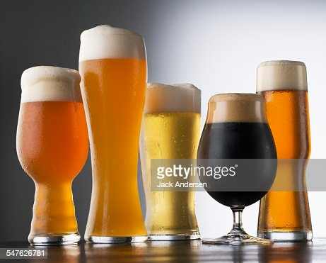 Variety of Beer glasses : Stock Photo