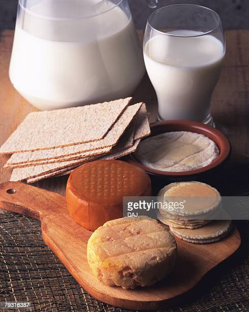 Variety of Cheese and Milk, High Angle View