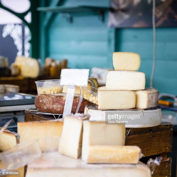 variety of cheese in a store