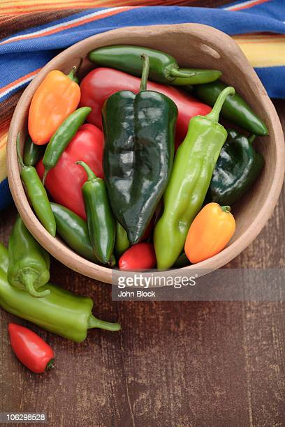 Variety of chilies in bowl
