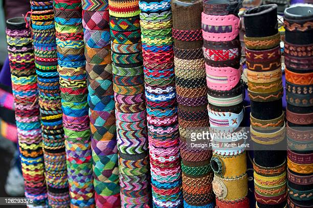 variety of colorful bracelets on display