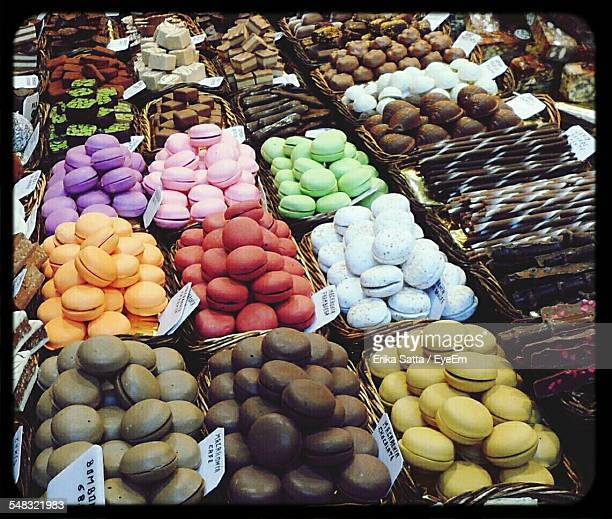 Variety Of Colorful Macaroons Cookie At Market Stall