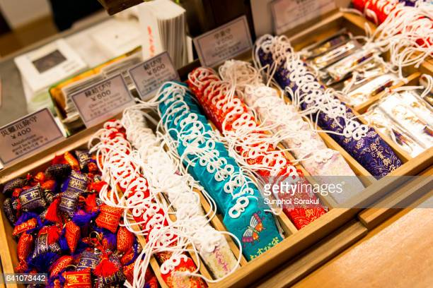 Variety of colourful Omamori or Japanese amulet