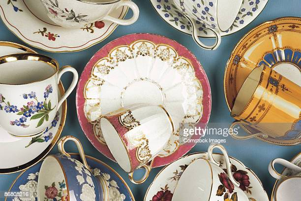 Variety of cups and saucers