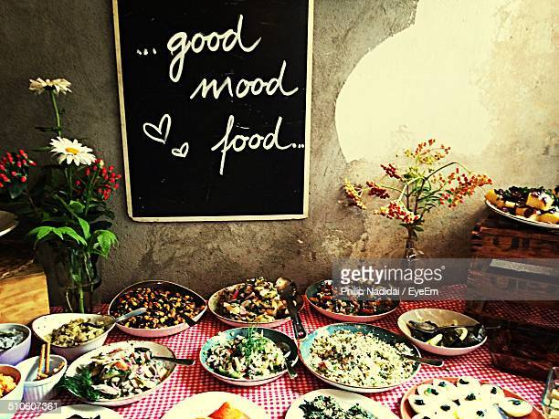 Variety of delicious dishes served on table