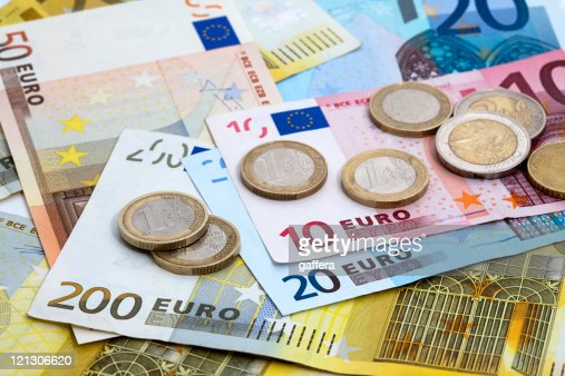 Variety of denominations of Euro coins and bills