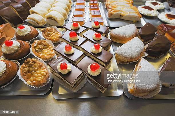 Variety of desserts on trays