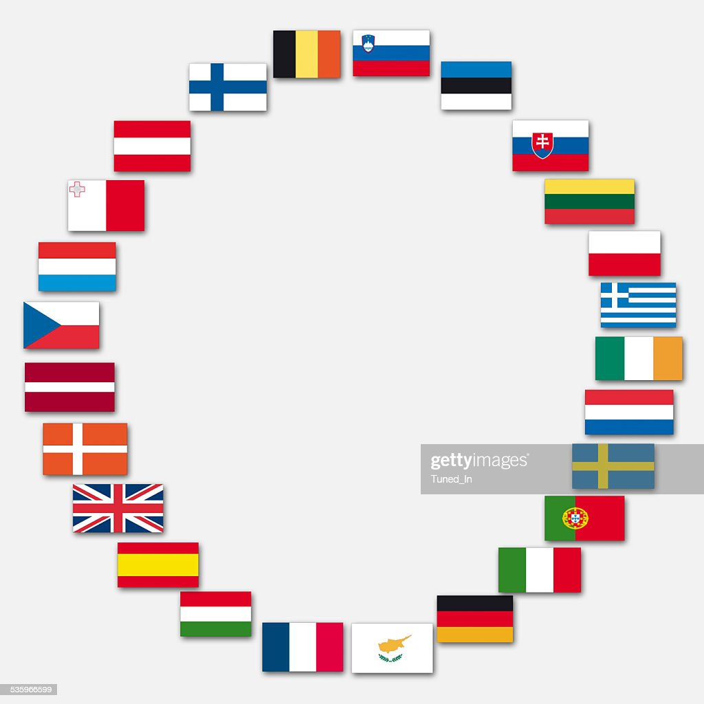 Variety of european flags, close up : Stock Photo