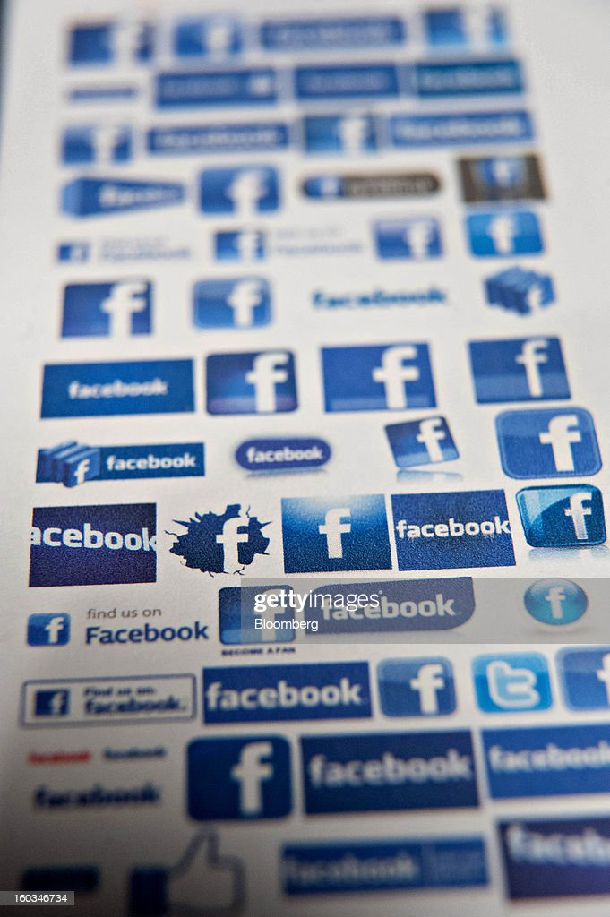 A variety of Facebook Inc. logos are displayed for a photograph in Tiskilwa, Illinois, U.S., on Tuesday, Jan. 29, 2013. Facebook Inc. is scheduled to report quarterly earnings on Jan. 30. Photographer: Daniel Acker/Bloomberg via Getty Images